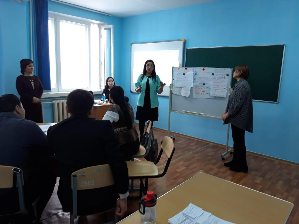 represents practice part of the Module 5,where participants Mrs. Zhamila and Mrs. Kholidin approved their group's vision about advantages and disadvantages of implementing inclusive practices at Higher Education.