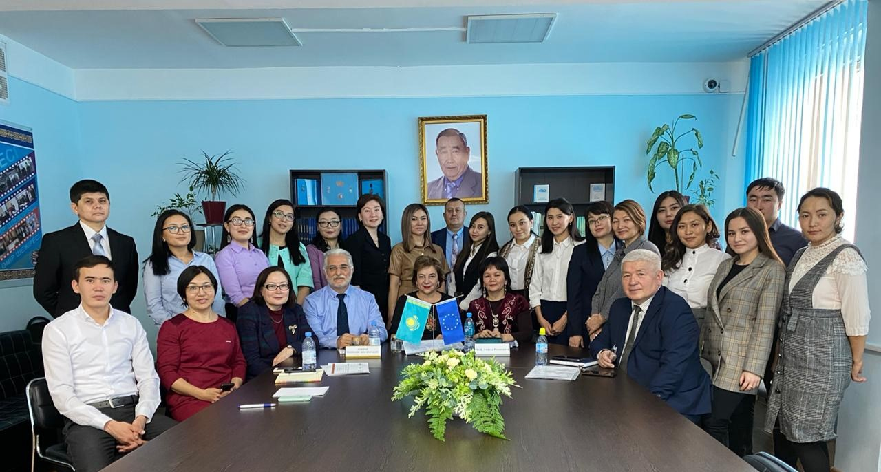 Group picture with the staff and participants at the special classroom Liaison Office( № 2506), faculty of Computer Systems and Vocational Education at S.Seifullin KATU, , Kazakhstan, Nur-Sultan. This classroom equipped with all necessary tools for inclusive education.